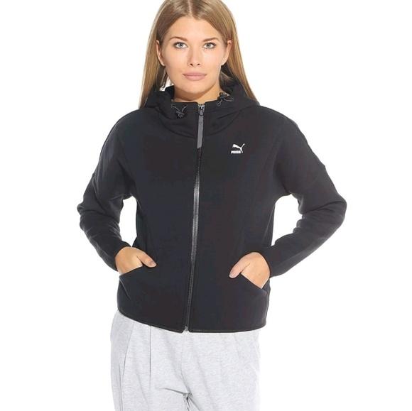 Eso Granjero La forma  Puma Jackets & Coats | Women Jacket Sz M Black Zipup Hooded Cotton ...